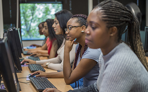 Montgomery College students in a computer lab